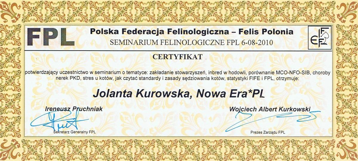 Certyfikat Felis Polonia