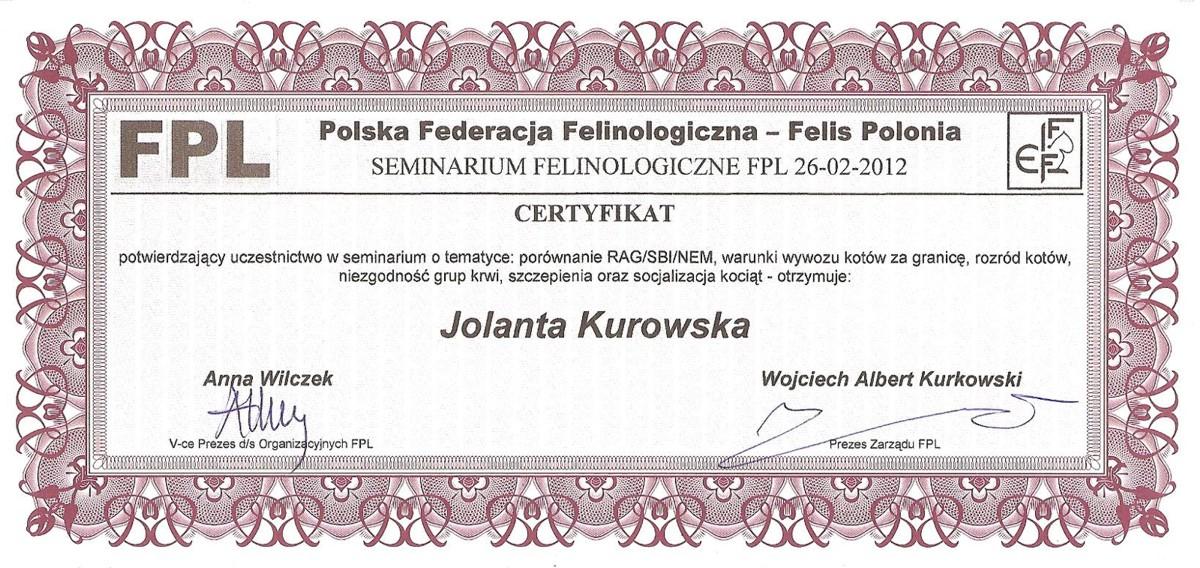 Certyfikat Polskiej Federacji Felinologicznej