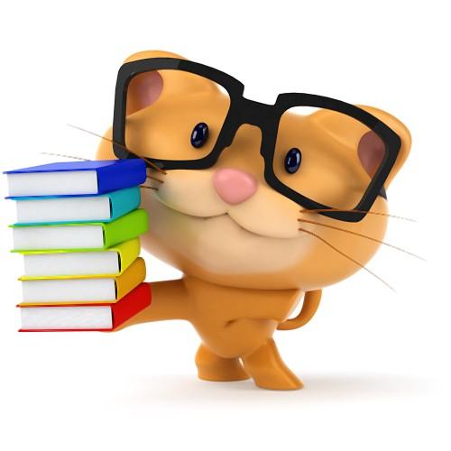 Kot z książkami